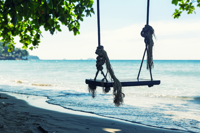 Swings at sea coast