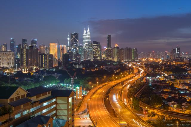 Dramatic sunset over Kuala Lumpur City Skyline