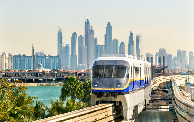 Train arriving at Atlantis Monorail station in Dubai
