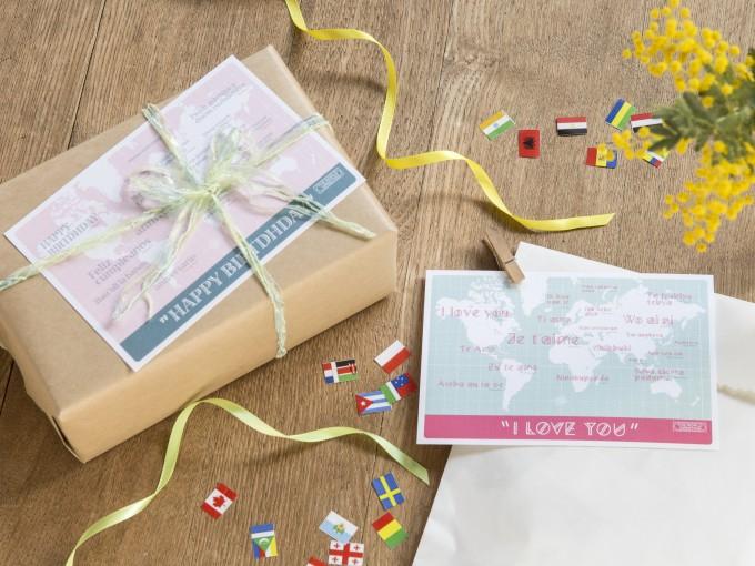「ありがとう」「愛してる」20カ国の言葉を集めたポストカードを持って旅に出たい!