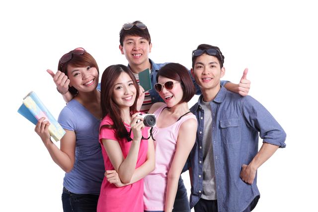 Happy group travel people