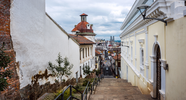 Historical center of old town Quito in northern Ecuador in the A