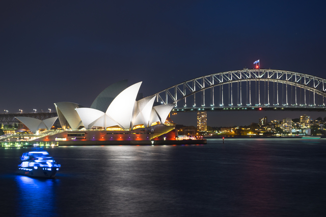 Beautiful scene of colorful Sydney city skyline at night