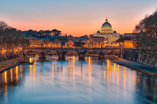 Twilight of the Vatican city State.