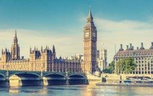 Big Ben and House of Parliament, London, UK, vintage effect styl