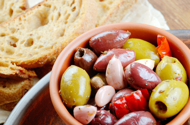 Olives in clay bowl