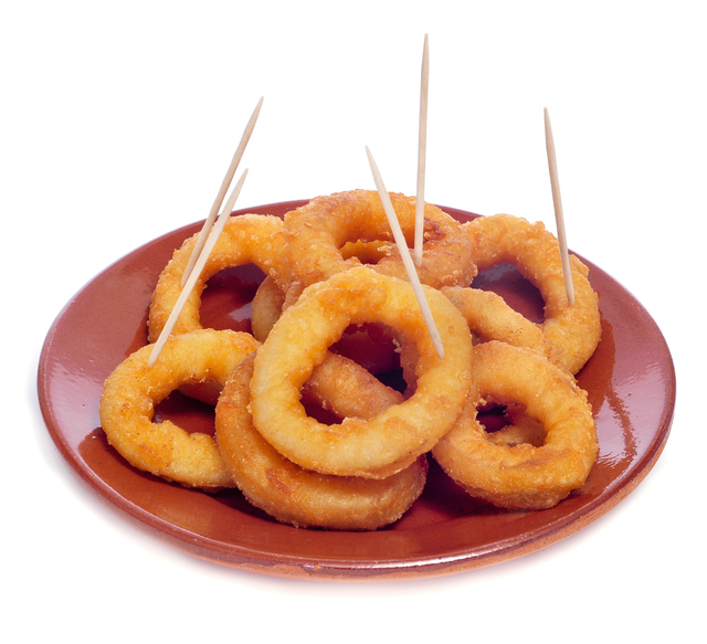 spanish calamares a la romana, squid rings breaded and fried