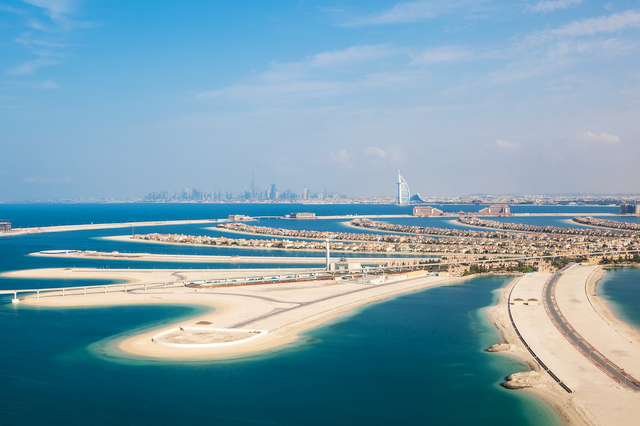 Dubai, UAE. The Palm island from above