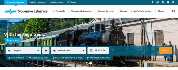 スロベニア鉄道ホームページの活...