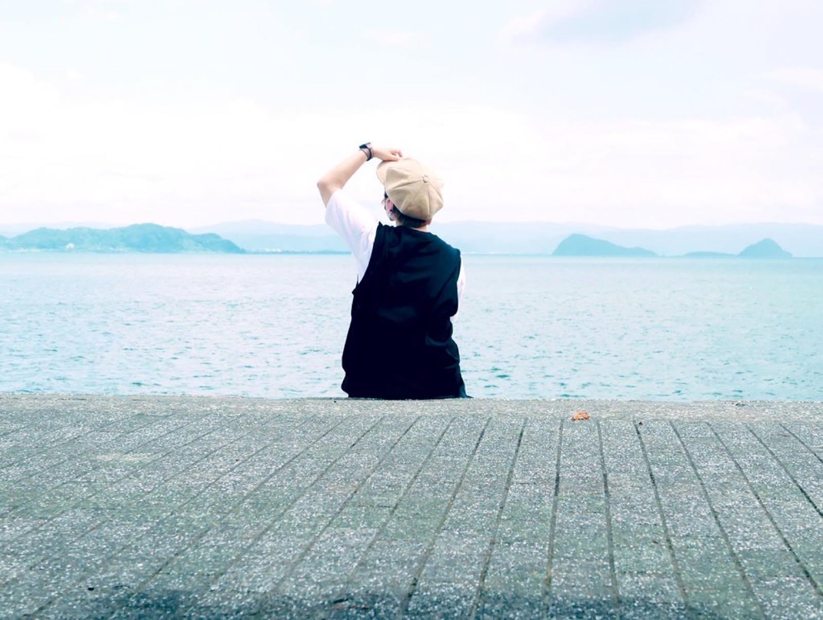 錦江湾で眺める海