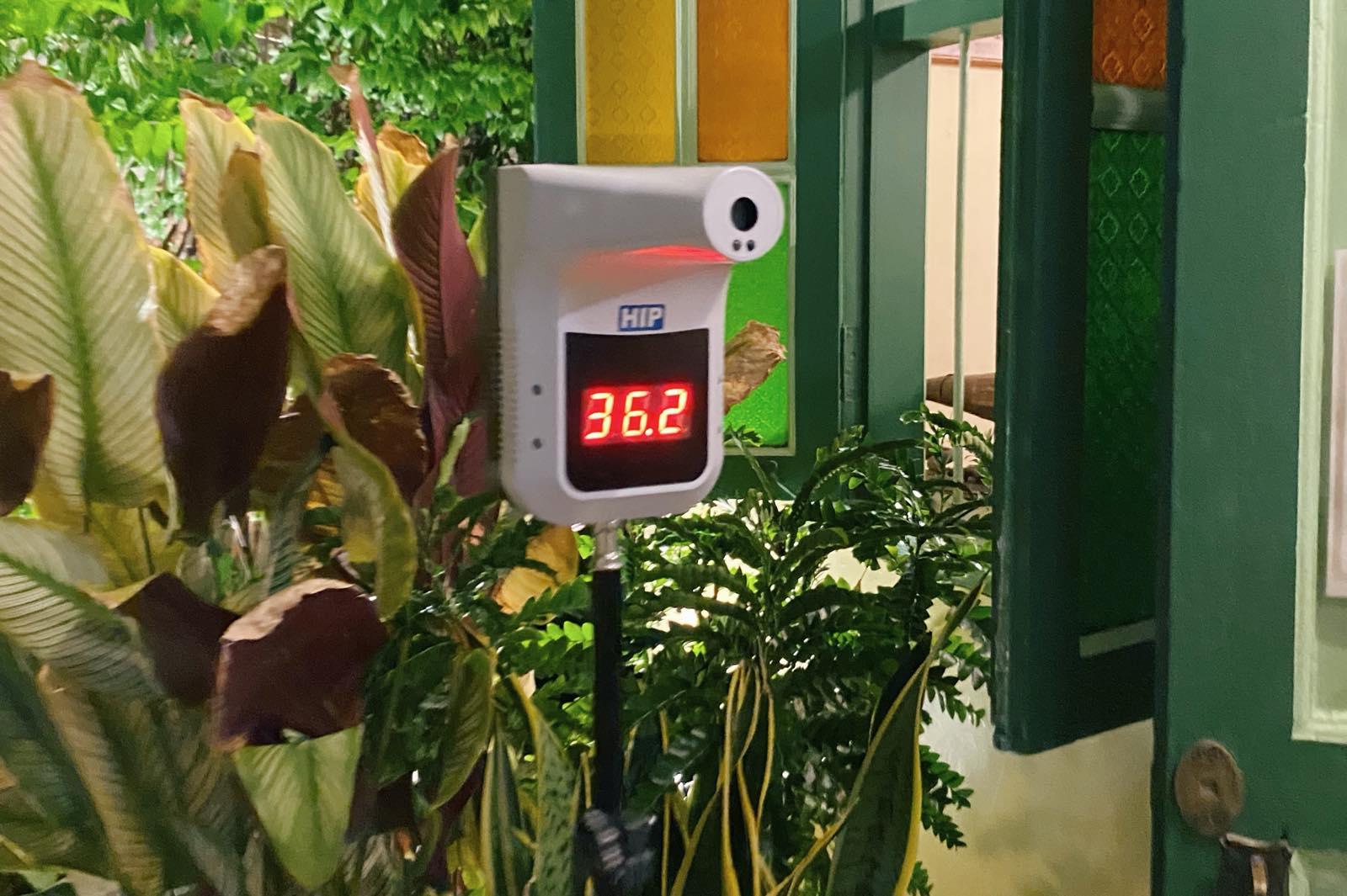 レストランの体温計