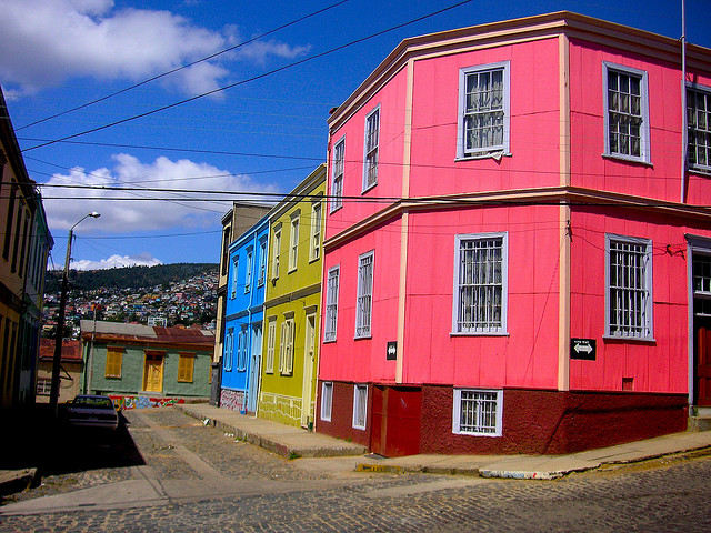 バルパライーソの海港都市の歴史的街並み