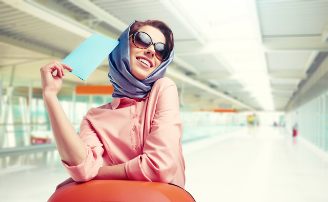Vintage female passenger at the airport